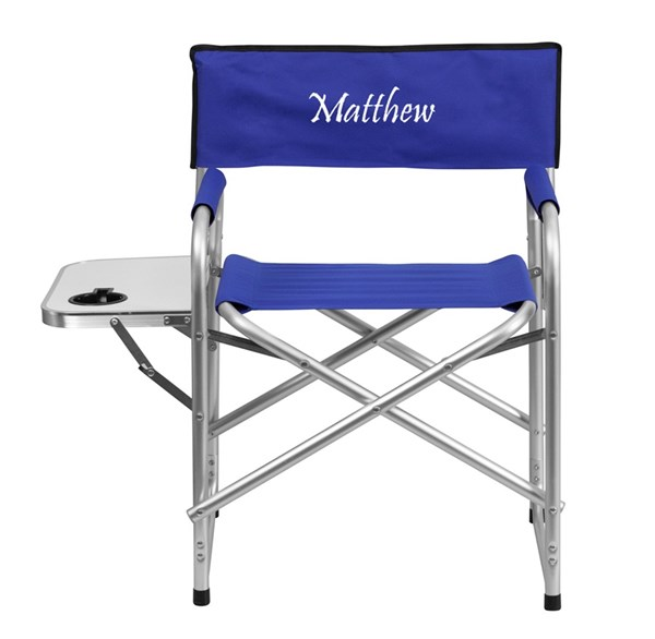 Personalized Aluminum Folding Camping Chair w/Table & Drink Holder FLF-TY1104-TXTEMB-GG-OUT-AC-VAR