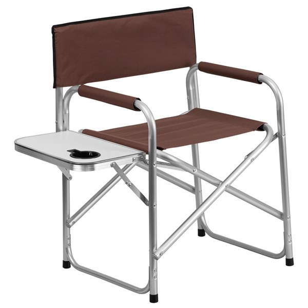 Aluminum Folding Brown Camping Chair with Table and Drink Holder FLF-TY1104-BN-GG