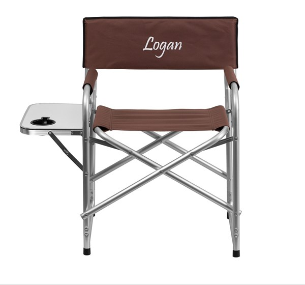 Personalized Aluminum Folding Brown Camping Chair w/Table & Holder FLF-TY1104-BN-TXTEMB-GG