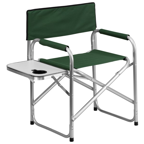 Aluminum Folding Green Camping Chair with Table and Drink Holder FLF-TY1104-GN-GG