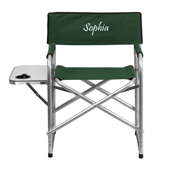 Personalized Aluminum Folding Green Camping Chair w/Table & Holder FLF-TY1104-GN-TXTEMB-GG