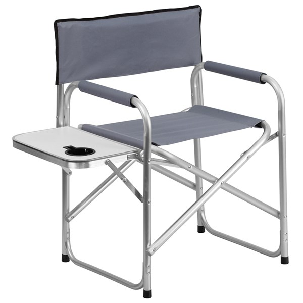 Aluminum Folding Gray Camping Chair with Table and Drink Holder FLF-TY1104-GY-GG