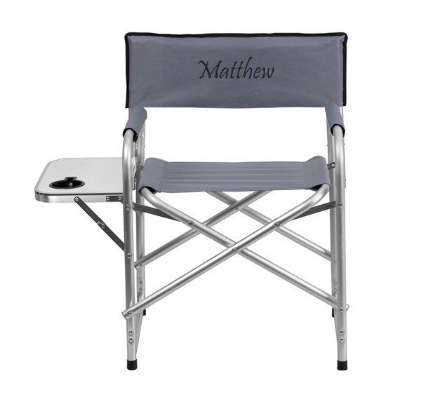 Personalized Aluminum Folding Gray Camping Chair w/Table & Holder FLF-TY1104-GY-TXTEMB-GG