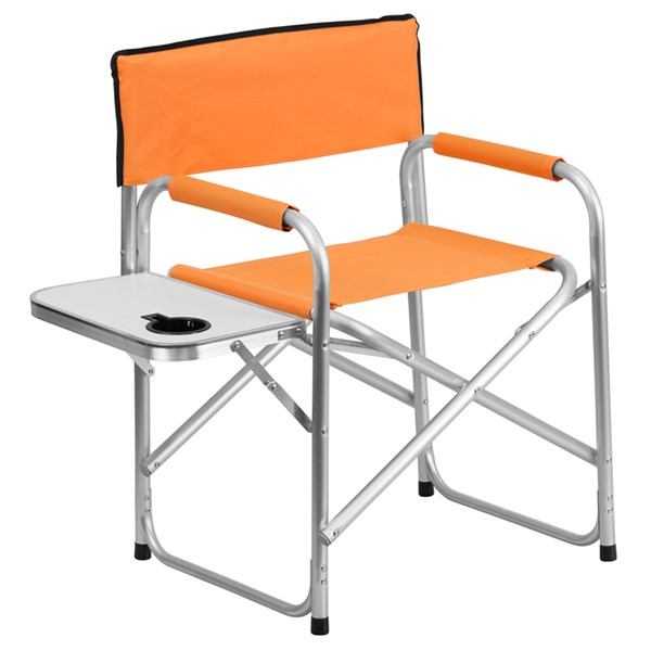 Aluminum Folding Orange Camping Chair with Table and Drink Holder FLF-TY1104-OR-GG