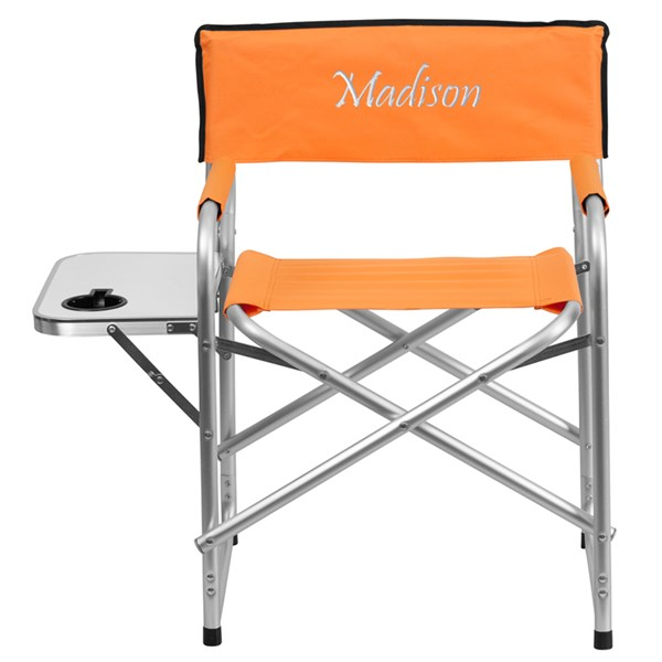 Personalized Aluminum Folding Orange Camping Chair w/Table & Holder FLF-TY1104-OR-TXTEMB-GG