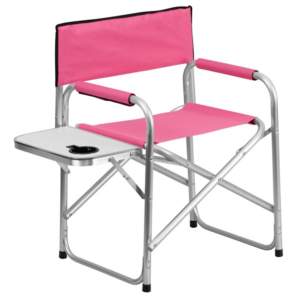 Aluminum Folding Pink Camping Chair with Table and Drink Holder FLF-TY1104-PK-GG