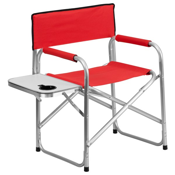 Aluminum Folding Red Camping Chair with Table and Drink Holder FLF-TY1104-RED-GG