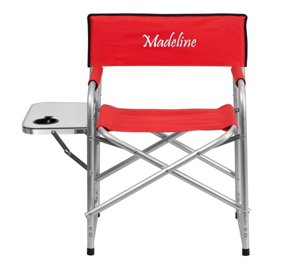 Personalized Aluminum Folding Red Camping Chair w/Table & Holder FLF-TY1104-RED-TXTEMB-GG