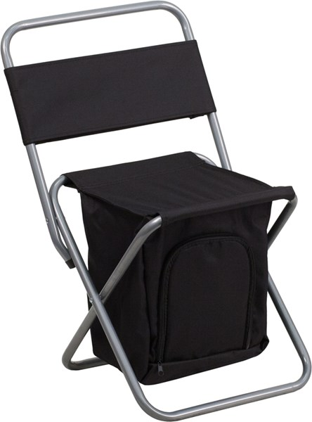 Kids Folding Black Camping Chair with Insulated Storage FLF-TY1262-BK-GG
