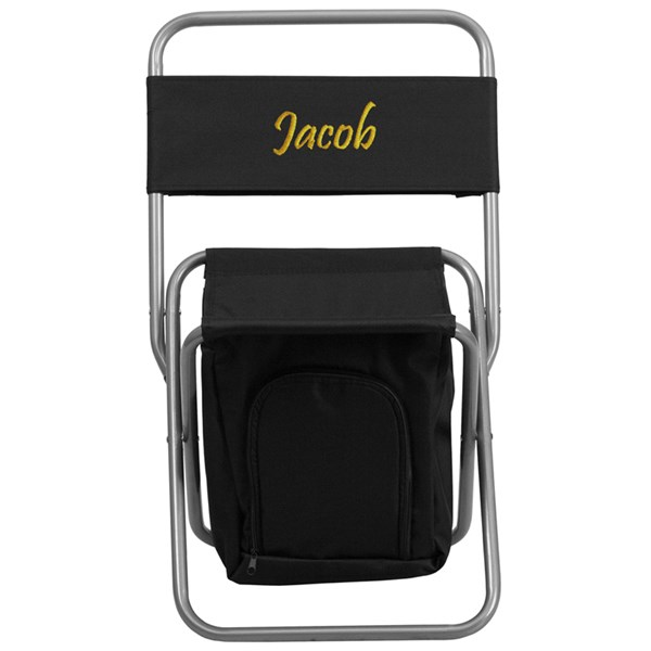 Personalized Kids Folding Black Camping Chair with Insulated Storage FLF-TY1262-BK-TXTEMB-GG