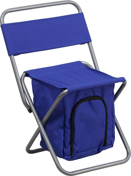 Kids Folding Blue Camping Chair with Insulated Storage FLF-TY1262-BL-GG
