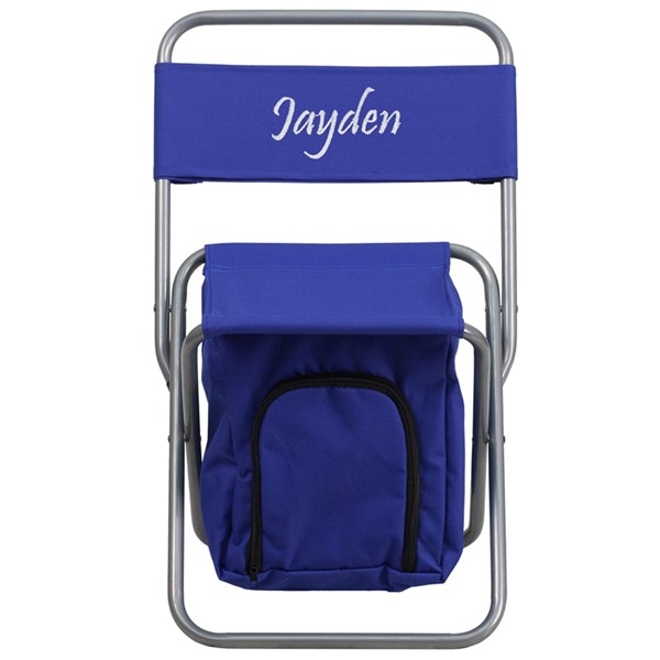 Personalized Kids Folding Blue Camping Chair with Insulated Storage FLF-TY1262-BL-TXTEMB-GG