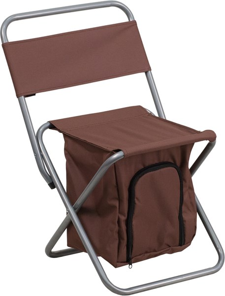 Kids Folding Brown Camping Chair with Insulated Storage FLF-TY1262-BN-GG