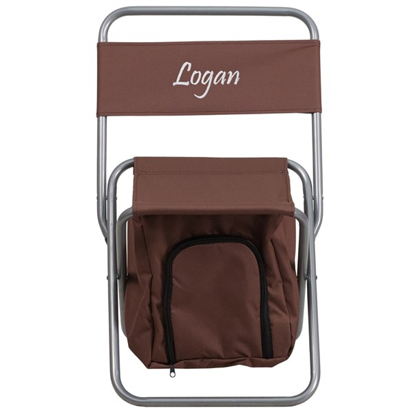 Personalized Kids Folding Brown Camping Chair with Insulated Storage FLF-TY1262-BN-TXTEMB-GG