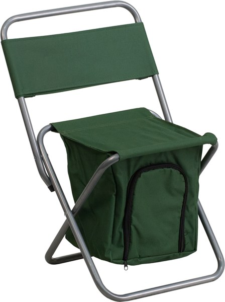 Kids Folding Green Camping Chair with Insulated Storage FLF-TY1262-GN-GG