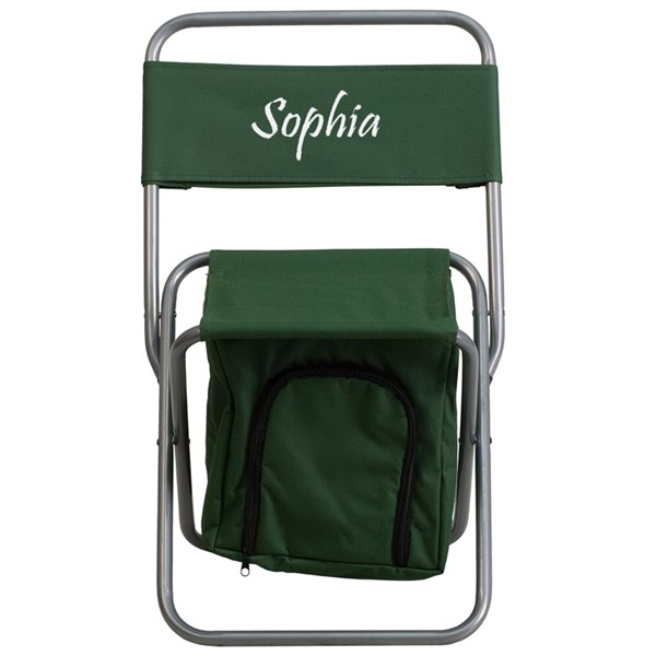 Personalized Kids Folding Green Camping Chair with Insulated Storage FLF-TY1262-GN-TXTEMB-GG