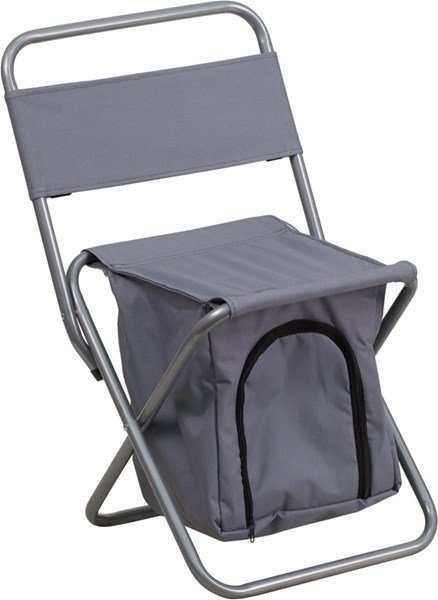 Flash Furniture Kids Folding Gray Camping Chair with Insulated Storage FLF-TY1262-GY-GG