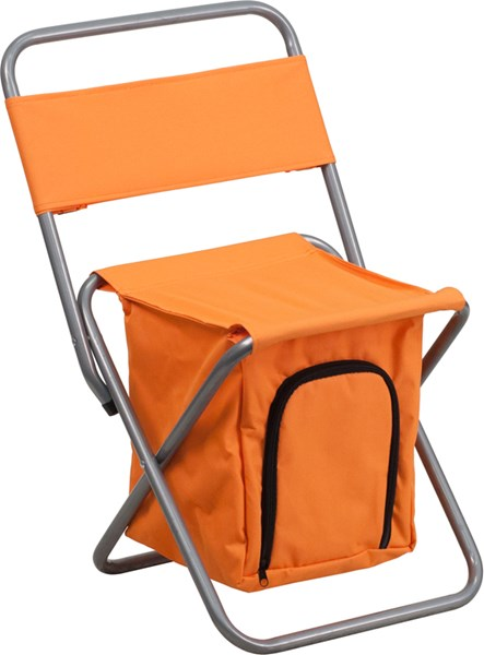 Flash Furniture Kids Folding Orange Camping Chair with Insulated Storage FLF-TY1262-OR-GG
