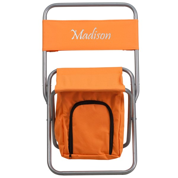 Personalized Kids Folding Camping Chair with Insulated Storage FLF-TY1262-TXTEMB-GG-OUT-AC-VAR