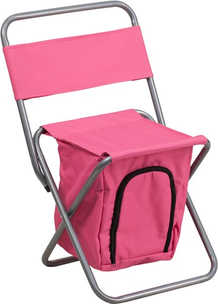 Kids Folding Pink Camping Chair with Insulated Storage FLF-TY1262-PK-GG