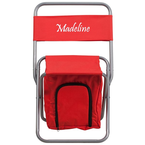 Personalized Kids Folding Red Camping Chair with Insulated Storage FLF-TY1262-RED-TXTEMB-GG