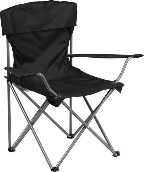 Folding Black Camping Chair with Drink Holder FLF-TY1410-BK-GG