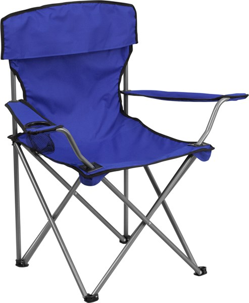 Folding Blue Camping Chair with Drink Holder FLF-TY1410-BL-GG