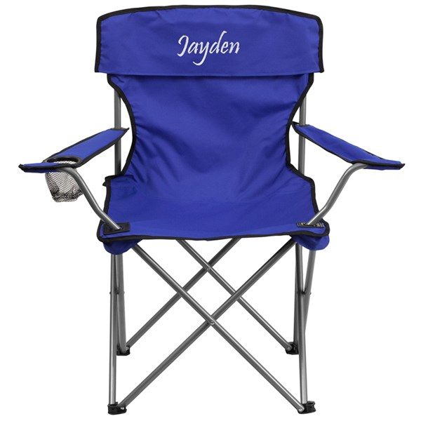 Personalized Folding Fabric Camping Chair with Drink Holder FLF-TY1410-TXTEMB-GG-OUT-AC-VAR