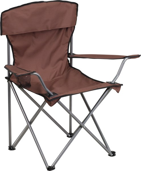 Folding Brown Camping Chair with Drink Holder FLF-TY1410-BN-GG