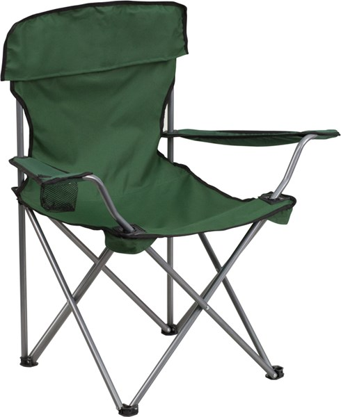 Folding Green Camping Chair with Drink Holder FLF-TY1410-GN-GG