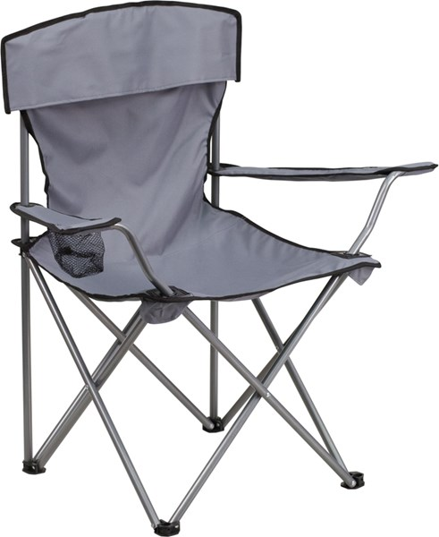Folding Gray Camping Chair with Drink Holder FLF-TY1410-GY-GG