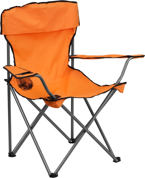 Folding Orange Camping Chair with Drink Holder FLF-TY1410-OR-GG