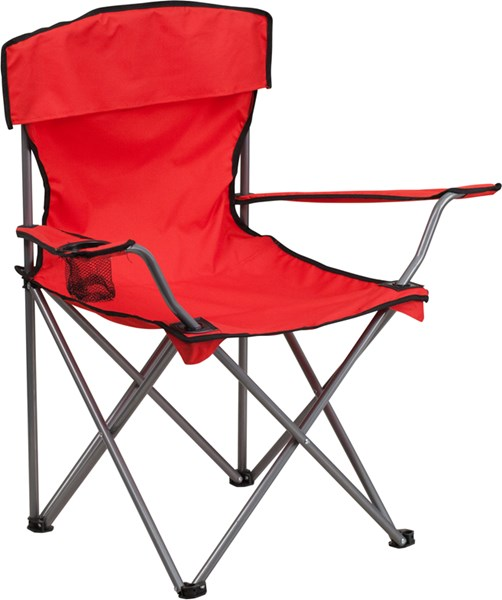 Folding Red Camping Chair with Drink Holder FLF-TY1410-RED-GG