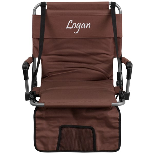 Personalized Folding Brown Canvas Fabric Stadium Chair FLF-TY2710-BN-TXTEMB-GG