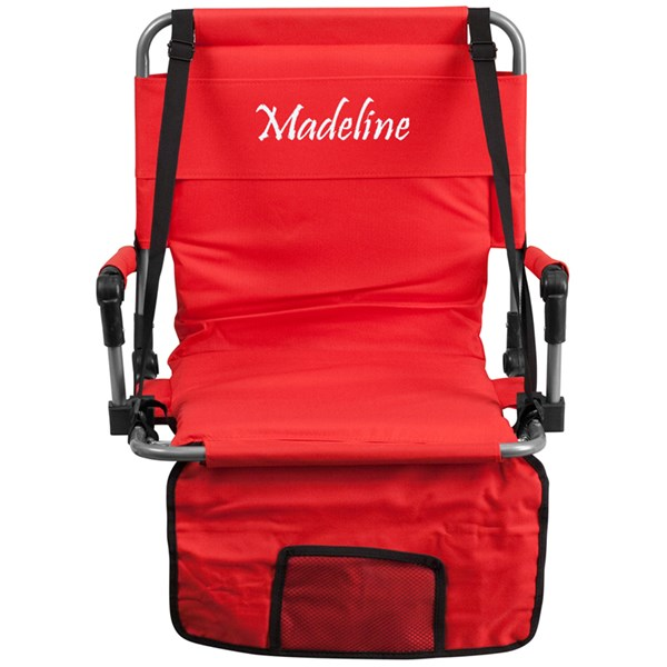 Personalized Folding Red Canvas Fabric Stadium Chair FLF-TY2710-RED-TXTEMB-GG