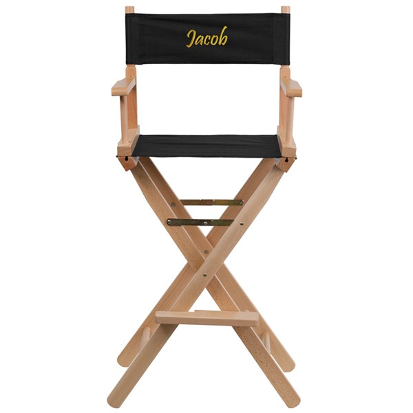 Black Beechwood Canvas Polyester Personalized Director Seat Bar Stool FLF-TYD01-BK-TXTEMB-GG