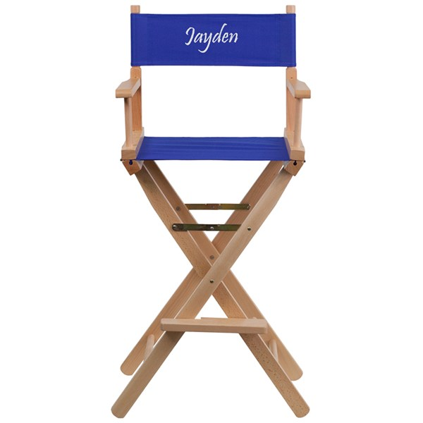 Blue Beechwood Canvas Polyester Personalized Director Seat Bar Stool FLF-TYD01-BL-TXTEMB-GG