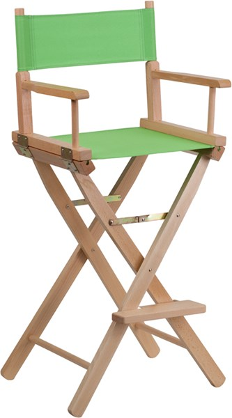 Green Beechwood Canvas Fabric Polyester Bar Height Director Seat Stool FLF-TYD01-GN-GG