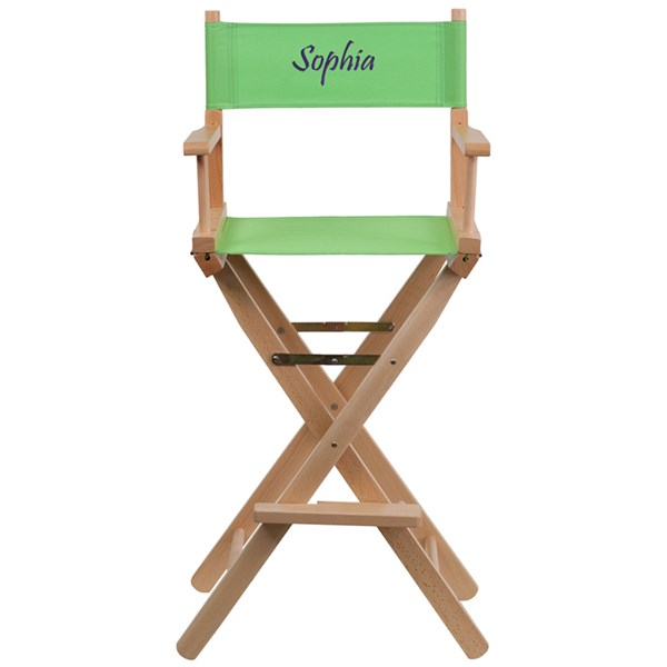 Green Beechwood Canvas Polyester Personalized Director Seat Bar Stool FLF-TYD01-GN-TXTEMB-GG