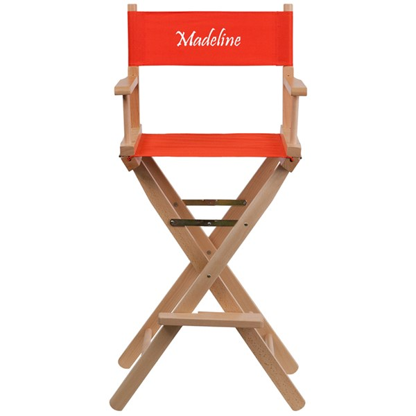 Red Beechwood Canvas Polyester Personalized Director Seat Bar Stool FLF-TYD01-RD-TXTEMB-GG