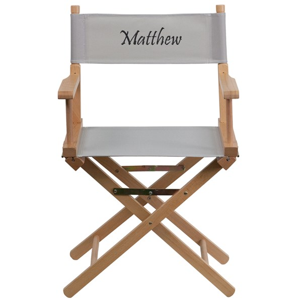 Gray Beechwood Fabric Personalized Standard Height Director Chair FLF-TYD02-GY-TXTEMB-GG