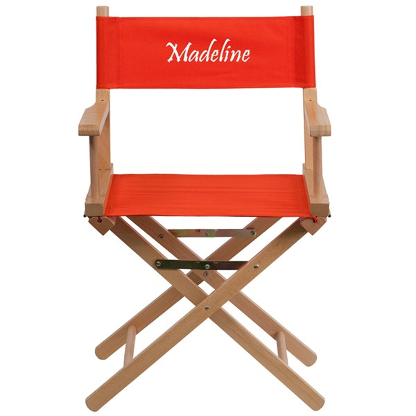 Red Beechwood Fabric Personalized Standard Height Director Chair FLF-TYD02-RD-TXTEMB-GG