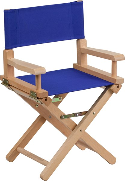 Blue Beechwood Canvas Fabric Polyester Kids Directors Chair FLF-TYD03-BL-GG
