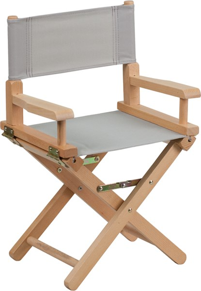 Gray Beechwood Canvas Fabric Polyester Kids Directors Chair FLF-TYD03-GY-GG