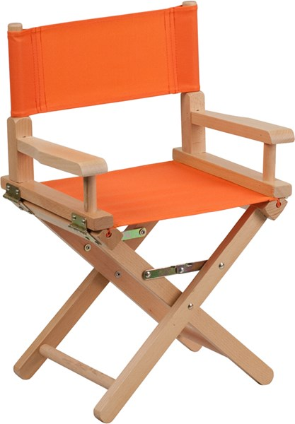 Orange Beechwood Canvas Fabric Polyester Kids Directors Chair FLF-TYD03-OR-GG