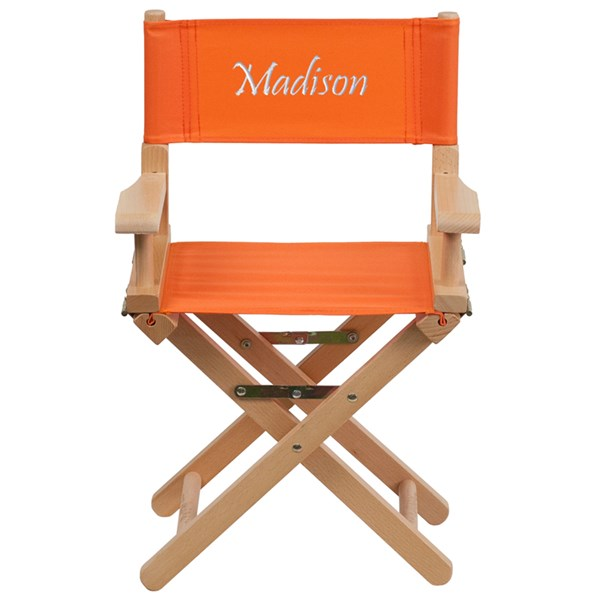 Orange Beechwood Canvas Fabric Personalized Kids Director Seat FLF-TYD03-OR-TXTEMB-GG