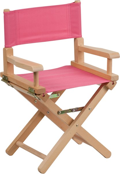 Pink Beechwood Canvas Fabric Polyester Kids Directors Chair FLF-TYD03-PK-GG