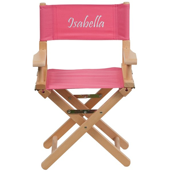 Pink Beechwood Canvas Fabric Polyester Personalized Kids Director Seat FLF-TYD03-PK-TXTEMB-GG
