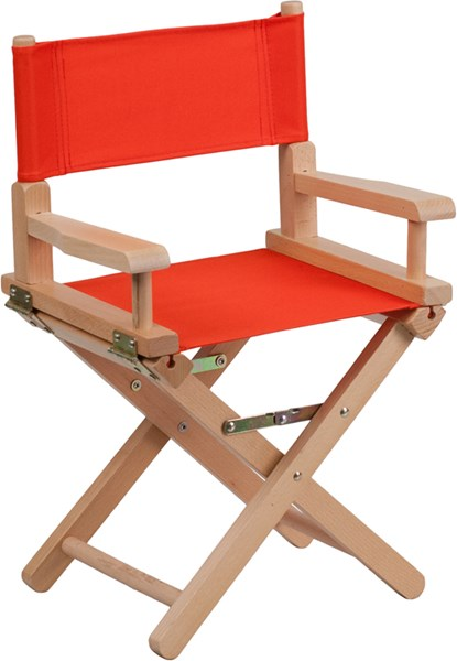 Red Beechwood Canvas Fabric Polyester Kids Directors Chair FLF-TYD03-RD-GG