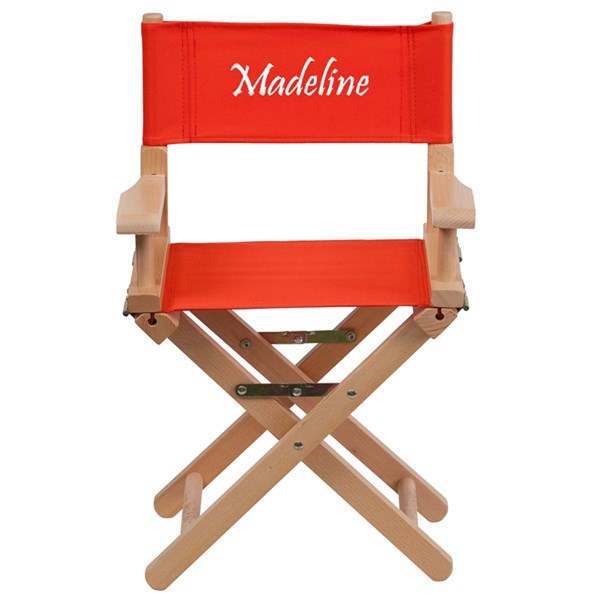 Red Beechwood Canvas Fabric Polyester Personalized Kids Director Seat FLF-TYD03-RD-TXTEMB-GG